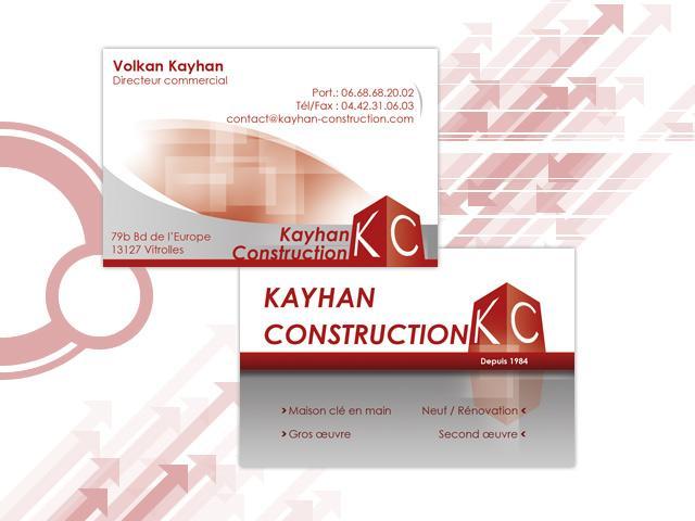 Cartes de visite et logo pour kayhan construction for Carte visite construction